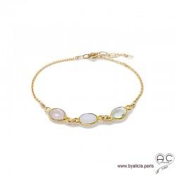 Bracelet quartz rose, pierre de lune, prasiolite, pierres fines sur chaîne en plaqué or, création by Alicia