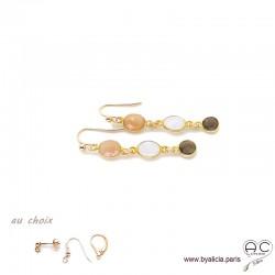 Boucles d'oreilles quartz fumé, pierre de lune, pierre du soleil, cascade de pierres fines plaqué or, création by Alicia