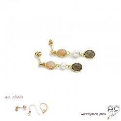 Boucles d'oreilles quartz fumé, perle de culture, pierre du soleil, cascade de pierres fines plaqué or, création by Alicia