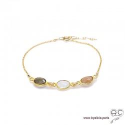 Bracelet quartz fumé, pierre de lune, pierre du soleil, pierres fines sur chaîne plaqué or, création by Alicia