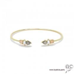 Bracelet jonc ouvert avec quartz fumé, perle de culture, pierre de soleil, pierres fines et plaqué or