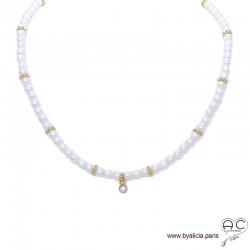 Collier perles de culture d'eau douce, plaqué or, ras de cou, bohème chic, création by Alicia
