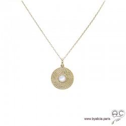 Médaille ethnique sertie de nacre blanche, en plaqué or, tendance, bohème