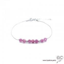 Bracelet fin avec tourmaline rose, pierre naturelle sure une chaîne en argent 925, création by Alicia