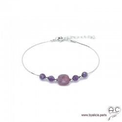 Bracelet rubis et améthyste sur une chaîne en argent 925, pierre naturelle, création by Alicia