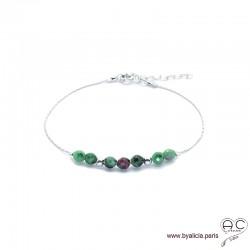 Bracelet fin avec rubis zoïsite sur une chaîne en argent 925, pierre naturelle, création by Alicia