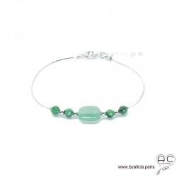Bracelet aventurine et rubis zoïsite sur une chaîne en argent 925, pierre naturelle, création by Alicia
