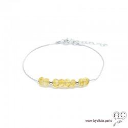 Bracelet fin avec citrine sur une chaîne en argent 925, pierre naturelle, création by Alicia
