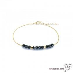 Bracelet fin avec spinelle noire sur une chaîne en plaqué or, pierre naturelle, création by Alicia