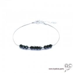 Bracelet fin avec spinelle noire sur une chaîne en argent 925 rhodié, pierre naturelle, création by Alicia