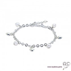 Bracelet avec breloques en perles de culture et petites coeurs, chaîne en argent 925 rhodié, création by Alicia