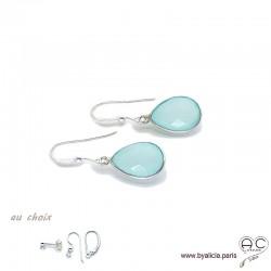 Boucles d'oreilles gouttes en calcédoine aqua, pierre fine et argent massif 925, pendantes, création by Alicia