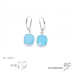 Boucles d'oreilles en calcédoine bleu, pierre fine et argent massif 925, pendantes, création by Alicia