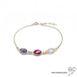 Bracelet améthyste, sillimanite rubis, quartz rose, pierres fines sur chaîne plaqué or, création by Alicia