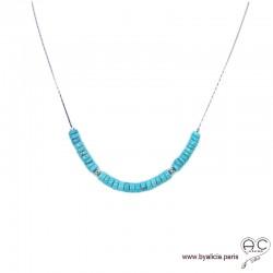 Collier turquoise reconstituée sur une chaîne serpent en argent 925 rhodié, ras de cou, femme, bohème chic, création by Alicia