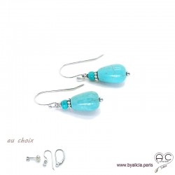 Boucles d'oreilles gouttes en turquoise reconstituée et argent massif 925, pendantes, création by Alicia