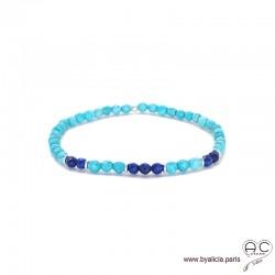Bracelet en turquoise reconstituée et lapis lazuli, argent 925, bohème, création by Alicia