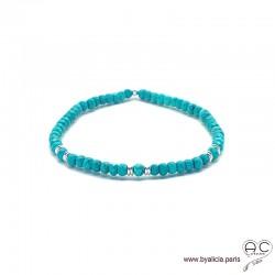 Bracelet en turquoise reconstituée et argent 925, bohème, création by Alicia