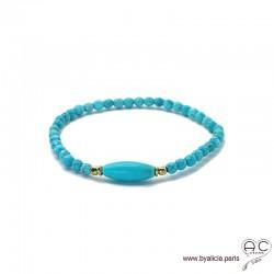 Bracelet en turquoise reconstituée et plaque or, bohème, création by Alicia