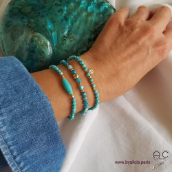 Bracelets turquoise, plaqué or, création by Alicia