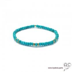 Bracelet turquoise reconstituée et plaqué or, bohème, création by Alicia