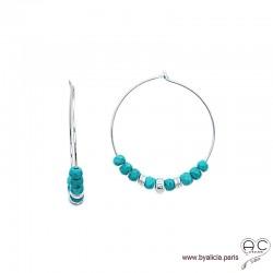 Créoles avec turquoise reconstituée et rondelles en argent 925, boucles d'oreilles, pierre fine, création by Alicia