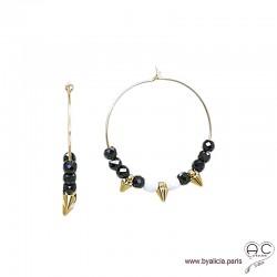 Créoles avec spinelle noir, agate blanche et pointes en plaqué or, boucles d'oreilles, pierre fine et spike, création by Alicia
