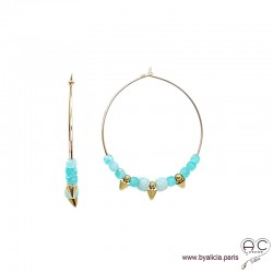 Créoles avec amazonite et pointes en plaqué or, boucles d'oreilles, pierre fine et spike, création by Alicia