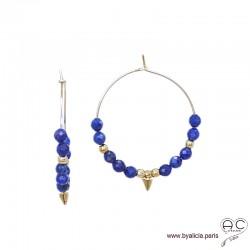 Créoles avec lapis lazuli et pointe en plaqué or, boucles d'oreilles, pierre fine et spike, création by Alicia
