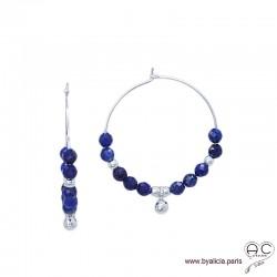 Créoles avec lapis lazuli et pampille boule en argent 925, boucles d'oreilles, pierre fine et spike, création by Alicia