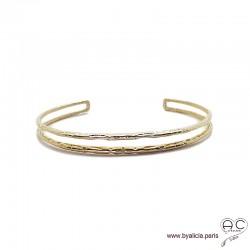 Bracelet jonc ouvert, double rang en plaqué or martelé, chic, femme