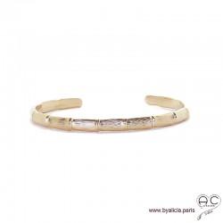 Bracelet jonc ouvert, tige de bambou en plaqué or ciselé, chic, femme