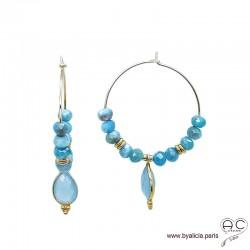 Créoles avec apatite et pampille en calcédoine bleu, plaqué or, pierre fine, boucles d'oreilles, création by Alicia