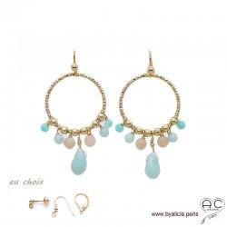 Boucles d'oreilles anneaux diamantées avec pampilles, amazonite, pierre du soleil, plaqué or, pierres fines, création by Alicia