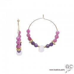 Créoles avec tourmaline rose, améthyste, plaqué or, pierres fines, boucles d'oreilles, création by Alicia