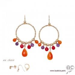 Créoles anneaux diamantées avec pampilles en cornaline et améthyste, plaqué or, pierres fines, création by Alicia