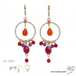 Boucles d'oreilles anneaux diamantées avec pampilles en cornaline, sillimanite rubis, plaqué or, création by Alicia