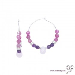 Créoles avec tourmaline rose, améthyste, argent 925, pierres fines, boucles d'oreilles, création by Alicia