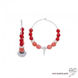 Créoles avec racine de corail, pampille nacre et médaille en argent massif 925, boucles d'oreilles, création by Alicia