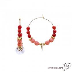 Créoles en racine de corail avec pampille nacre et médaille, plaqué or, boucles d'oreilles, création by Alicia