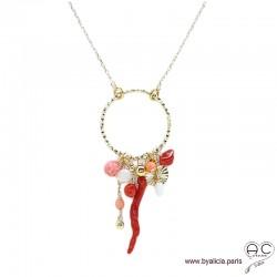Collier anneau diamanté avec pampilles en corail véritable, racine de corail et nacre, plaqué or, tendance, création by Alicia