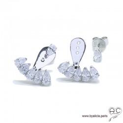 Contours dessous lobes serties de zirconium brillant, boucles d'oreilles en argent 925 rhodié, femme
