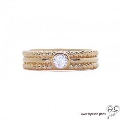 Bague solitaire, zirconium brillant sur anneau en plaqué or avec bordures torsadées, femme, intemporelle
