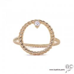 Bague cercle torsadée en plaqué or avec zirconium brillent, femme, tendance
