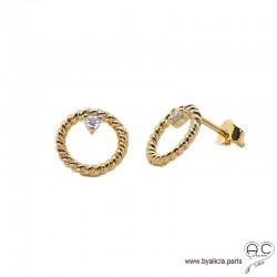 Boucles d'oreilles cercles torsadées en plaqué or avec zirconium brillant, puces, clous