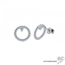 Boucles d'oreilles cercles torsadées en argent 925 rhodié avec zirconium brillent, puces, clous