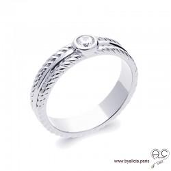 Bague solitaire, zirconium brillant sur anneau en argent massif 925 rhodié avec bordures torsadées, femme, intemporelle