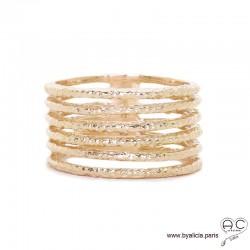 Bague avec anneaux multiples fins en plaqué or martelé, femme, intemporelle