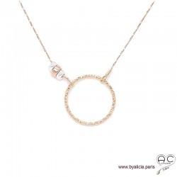 Collier cercle diamanté sur une chaîne en plaqué or, avec les rondelles en argent et plaqué or, ras de cou, création by Alicia