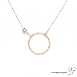 Collier cercle diamanté sur une chaîne en plaqué or, rondelles en argent et plaqué or, ras de cou, fait main, création by Alicia